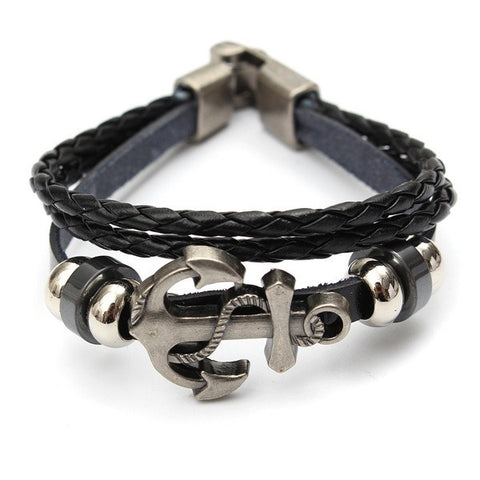 Multilayer Braided Leather Alloy Anchor Beads Bracelet For Men Women