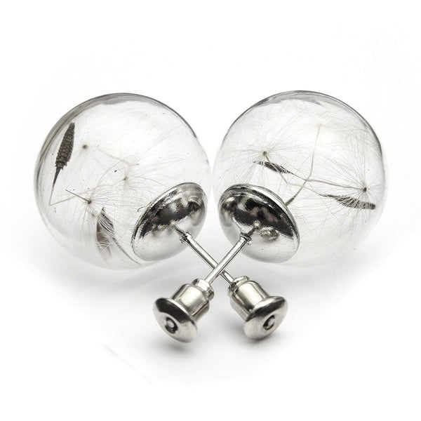 Cute Glass Bottle Bubble Dandelion Stud Earrings Jewelry