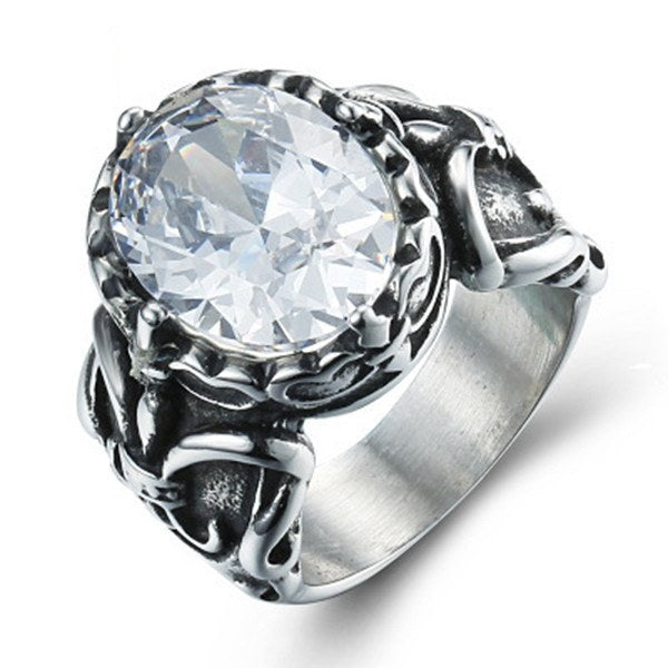 316L Punk Cross Zircon Vintage Men Women Finger Ring Jewelry