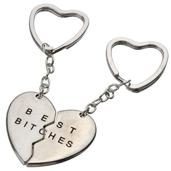 1 Pair Love Heart Couple Alloy Keychain Best Bitches Gift - Berazo