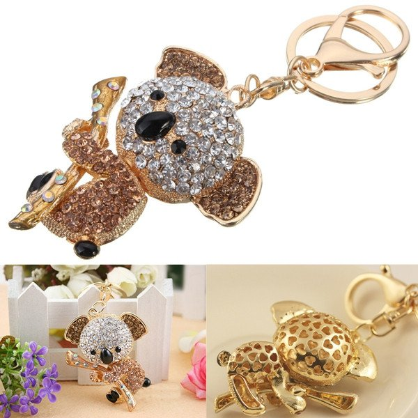 Cute Crystal Koala Holding The Branches Pendant Bag Keyring Keychain