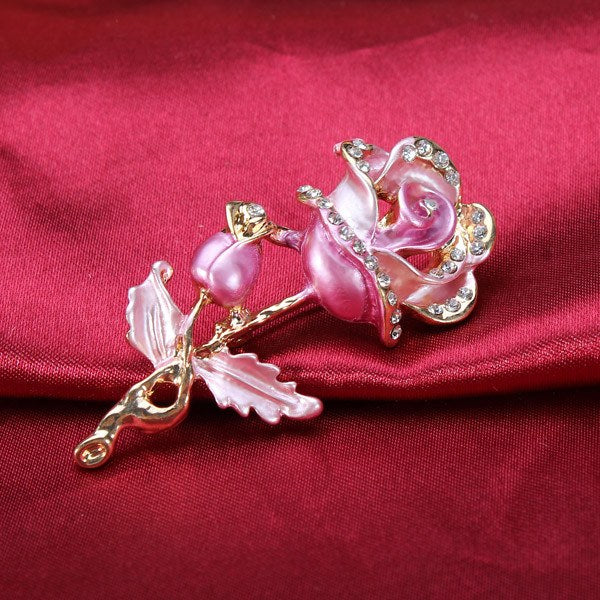 Multicolor Rhinestone Rose Flower Brooch Pins For Women
