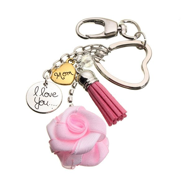 Pink Rose Heart Mom I Love You Keychian Key Ring Gift