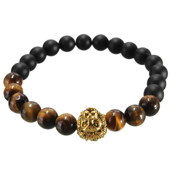 Tiger Eye Stone Matte Plastic Beads Lion Head Bracelet For Men