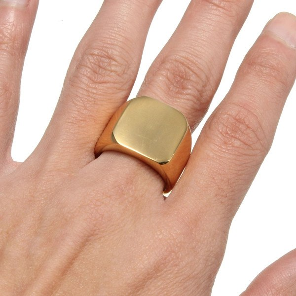 Gold Square Polished Stainless Steel Ring For Men