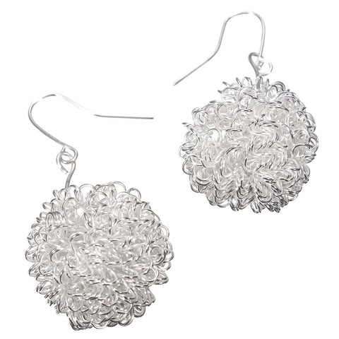 Silver Plated Hollow Ball Pendant Dangle Earrings For Women