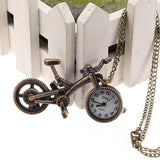 Vintage Bronze Bicycle Alloy Analog Chain Necklace Pocket Watch