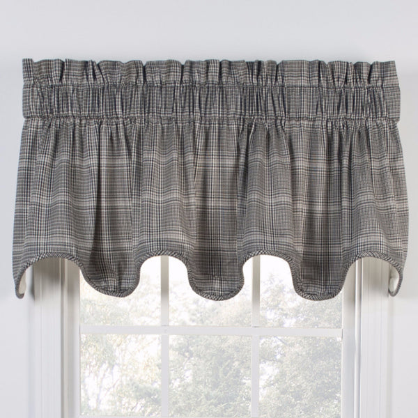 Black Morrison Lined Scalloped Valance hanging on a curtain rod