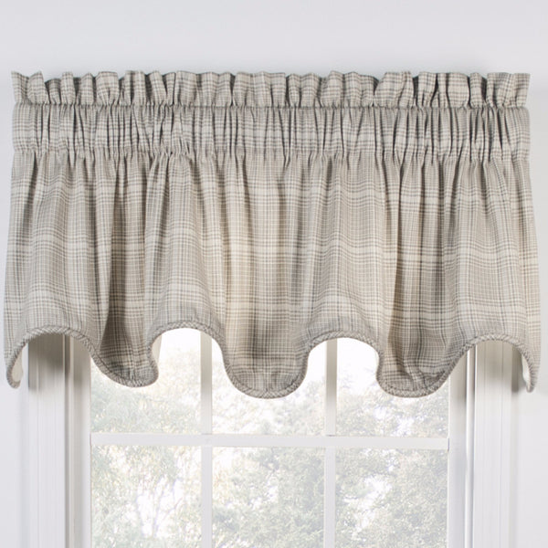 Natural Morrison Lined Scalloped Valance hanging on a curtain rod