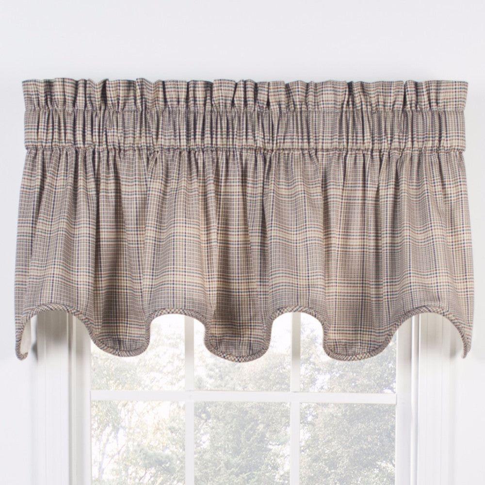 Patriot Morrison Lined Scalloped Valance hanging on a curtain rod