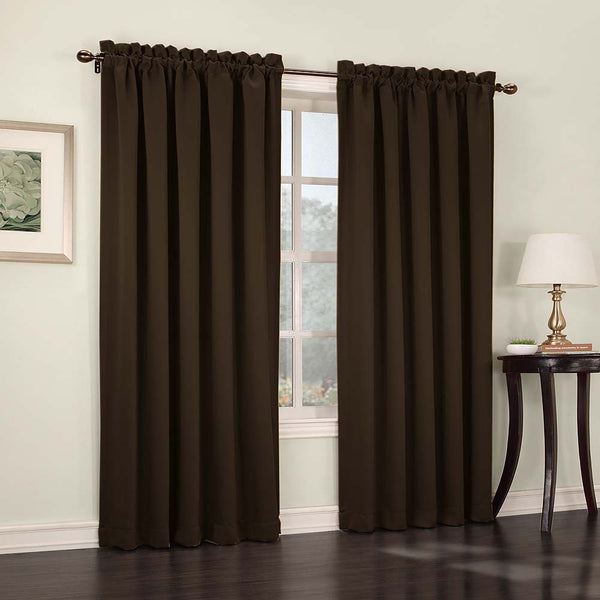Chocolate Madison Room Darkening Panels hanging on a decorative rod