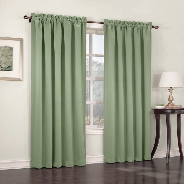 Sage Madison Room Darkening Panels hanging on a decorative rod