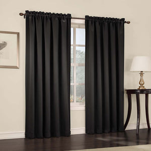 Black Madison Room Darkening Panels hanging on a decorative rod