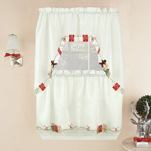 Multi Gift Boxes Embroidery Kitchen Tiers, Swag and Valance Hanging on a rod