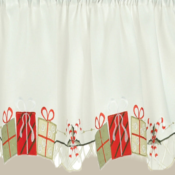 Up close shot of Multi Gift Boxes Embroidery Kitchen Tiers, Swag and Valance fabric