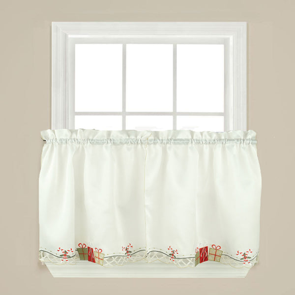 Multi Gift Boxes Embroidery Kitchen Tiers, Swag and Valance Tier hanging on a rod