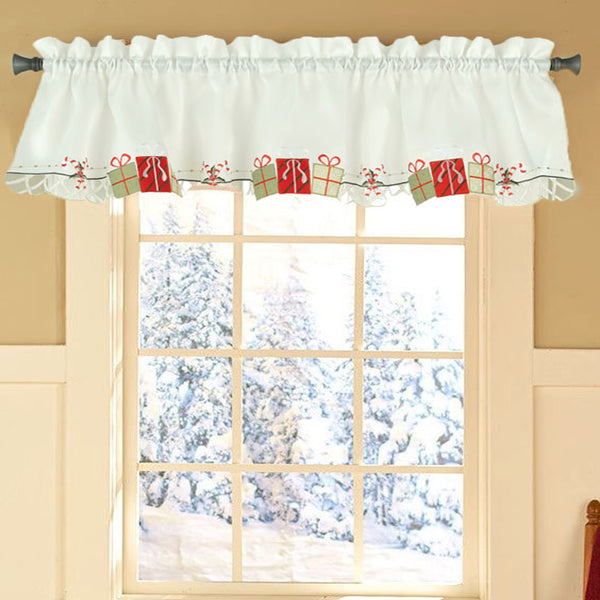 Multi Gift Boxes Embroidery Kitchen Tiers, Swag and Valance Valance hanging on a rod
