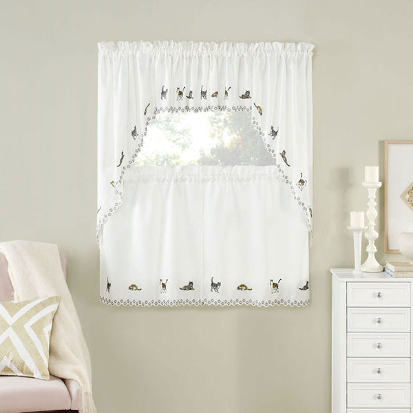 Cats Embroidered Kitchen Valance, Swags, and Tier Curtains hanging on curtain rods