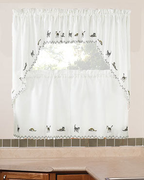 Cats Embroidered Tier, Valance and Swag Curtains