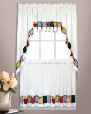 Appleton Kitchen Valance, Swags, and Tier Curtains hanging on curtain rods
