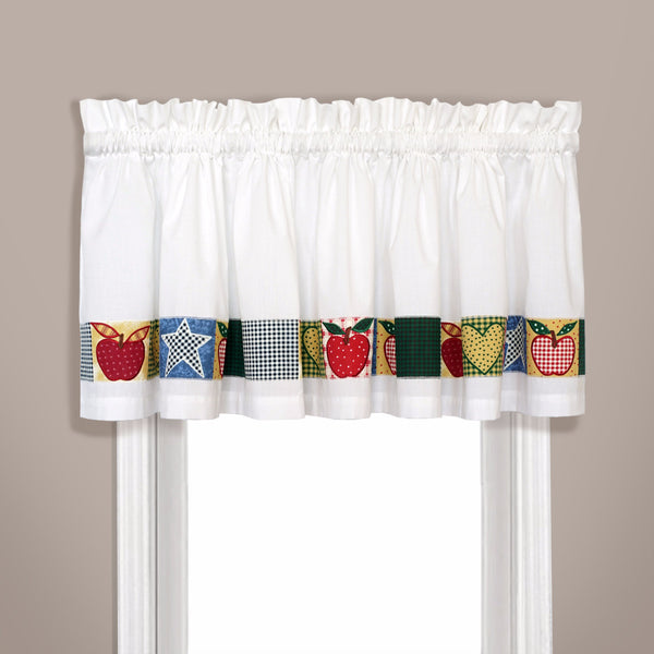 Closeup of Multi Appleton Kitchen Valance hanging on a curtain rod