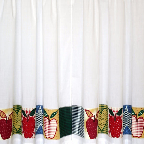 Closeup of multi Appleton Kitchen Valance, Swags, and Tier Curtains fabric
