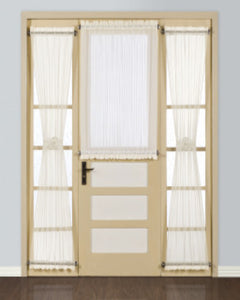 Natural Batiste Semi Sheer Door Panel hanging on a cafe rod