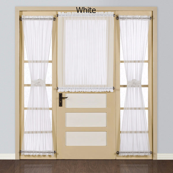 White Batiste Semi Sheer Door Panel hanging on a cafe rod