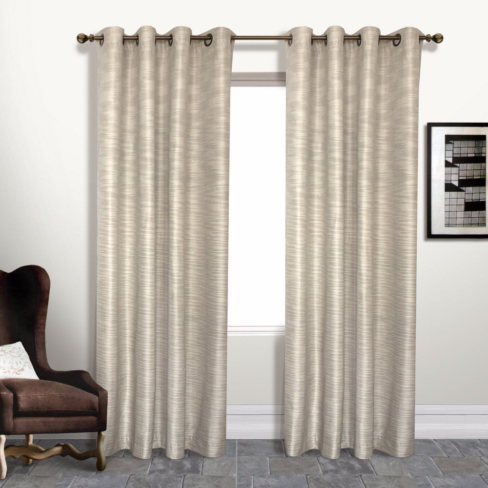 Beige Brighton Lined Grommet Top Panel hanging on a decorative rod