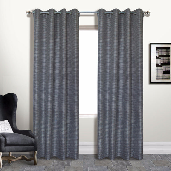 Platinum Brighton Lined Grommet Top Panel hanging on a decorative rod