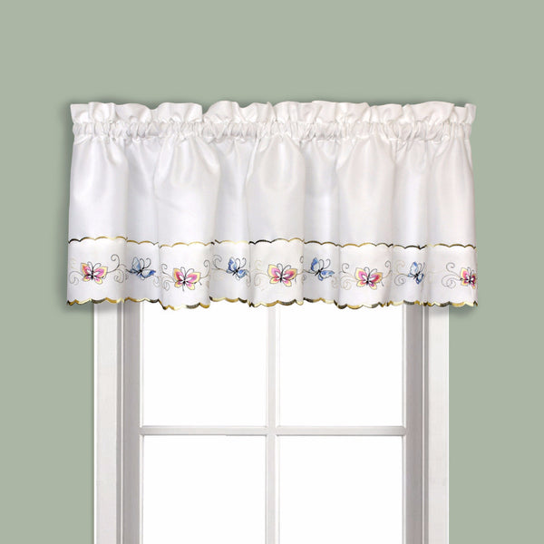 Butterfly Embroidered Kitchen & Tiers Curtain/ United Curtain