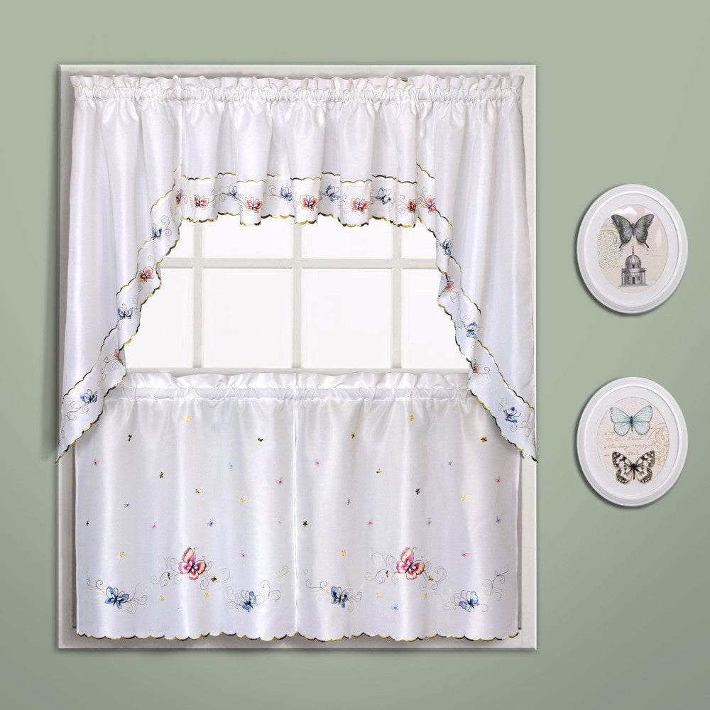 Beau ... Butterfly Embroidered Kitchen Tiers Valance And Swags Multi