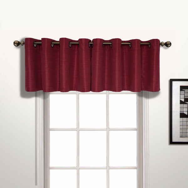 Brick Brighton Lined Grommet Top Valance hanging on a decorative rod