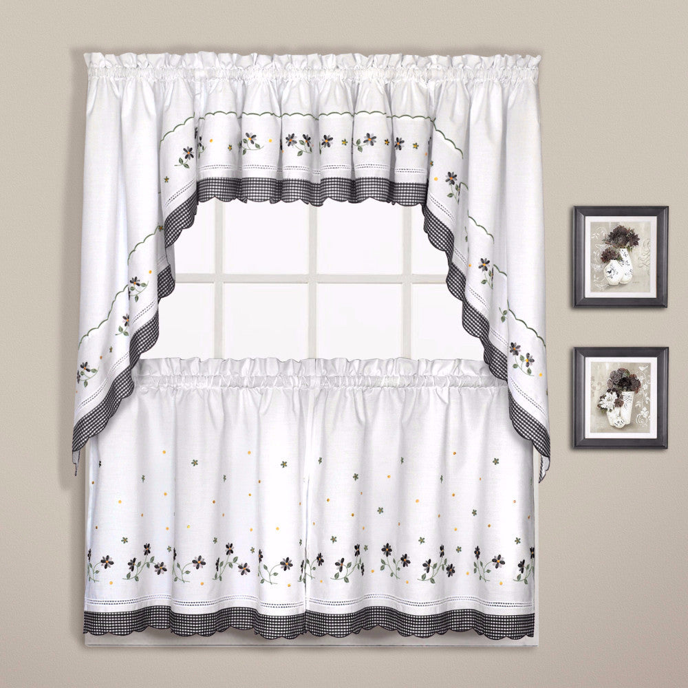 Gingham Embroidered Kitchen Tiers, Valance, and Swags