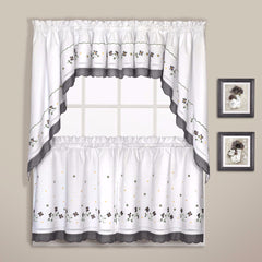 Gingham-Kitchen-Valance-Tiers-Valance-And-Swags-Black-Zoom