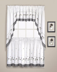 Black Gingham Kitchen Valance, Swags, and Tier Curtains hanging on curtain rod