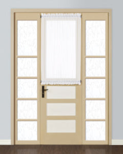 White Monte Carlo Semi Sheer Voile Door Panel hanging on a curtain rod over a door window