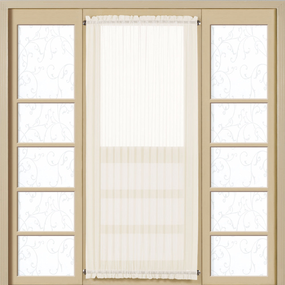 Natural Monte Carlo Semi Sheer Voile Door Panel hanging on a curtain rod over a door