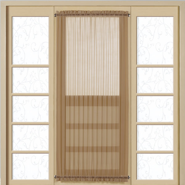 Taupe Monte Carlo Semi Sheer Voile Door Panel hanging on a curtain rod over a door