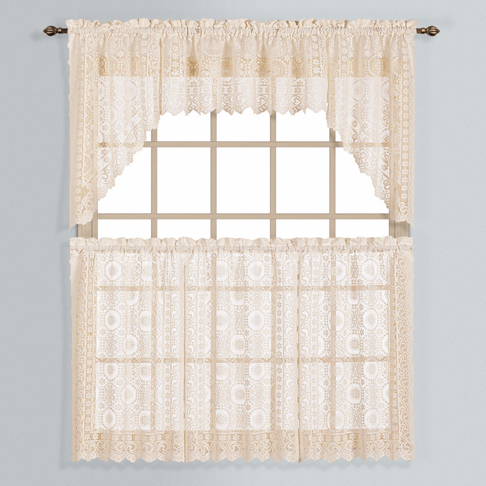 New-Rochelle-Lace-Kitchen-Tiers-Valance-And-Swags-Natural-Zoom