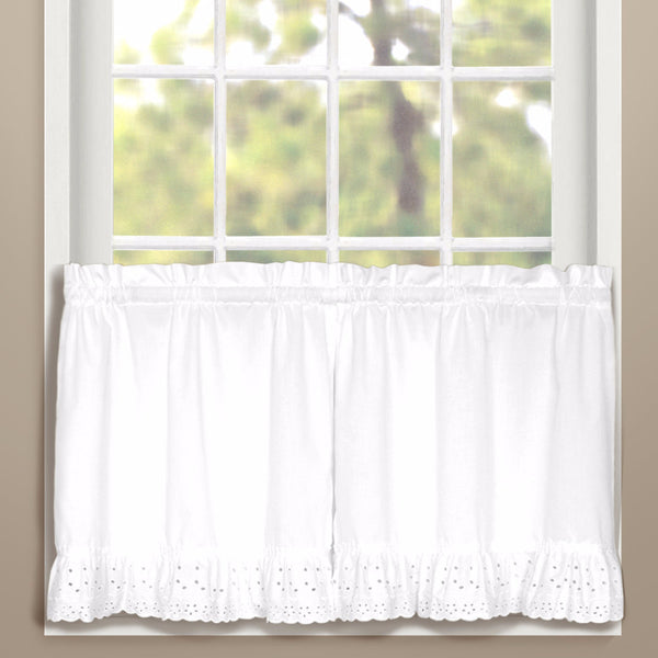 White Vienna Eyelet Kitchen Tier Curtains hanging on curtain rods
