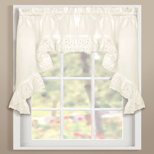 Natural Vienna Eyelet Kitchen Swags hanging on curtain rods