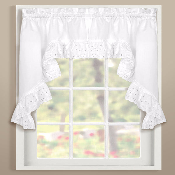 White Vienna Eyelet Kitchen Swags hanging on curtain rods