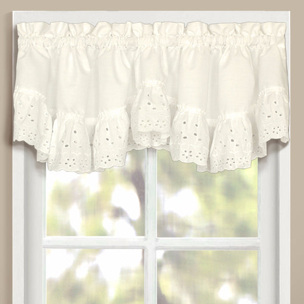 Natural Vienna Eyelet Kitchen Valance hanging on curtain rods