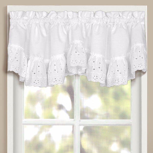 White Vienna Eyelet Kitchen Valance hanging on curtain rods