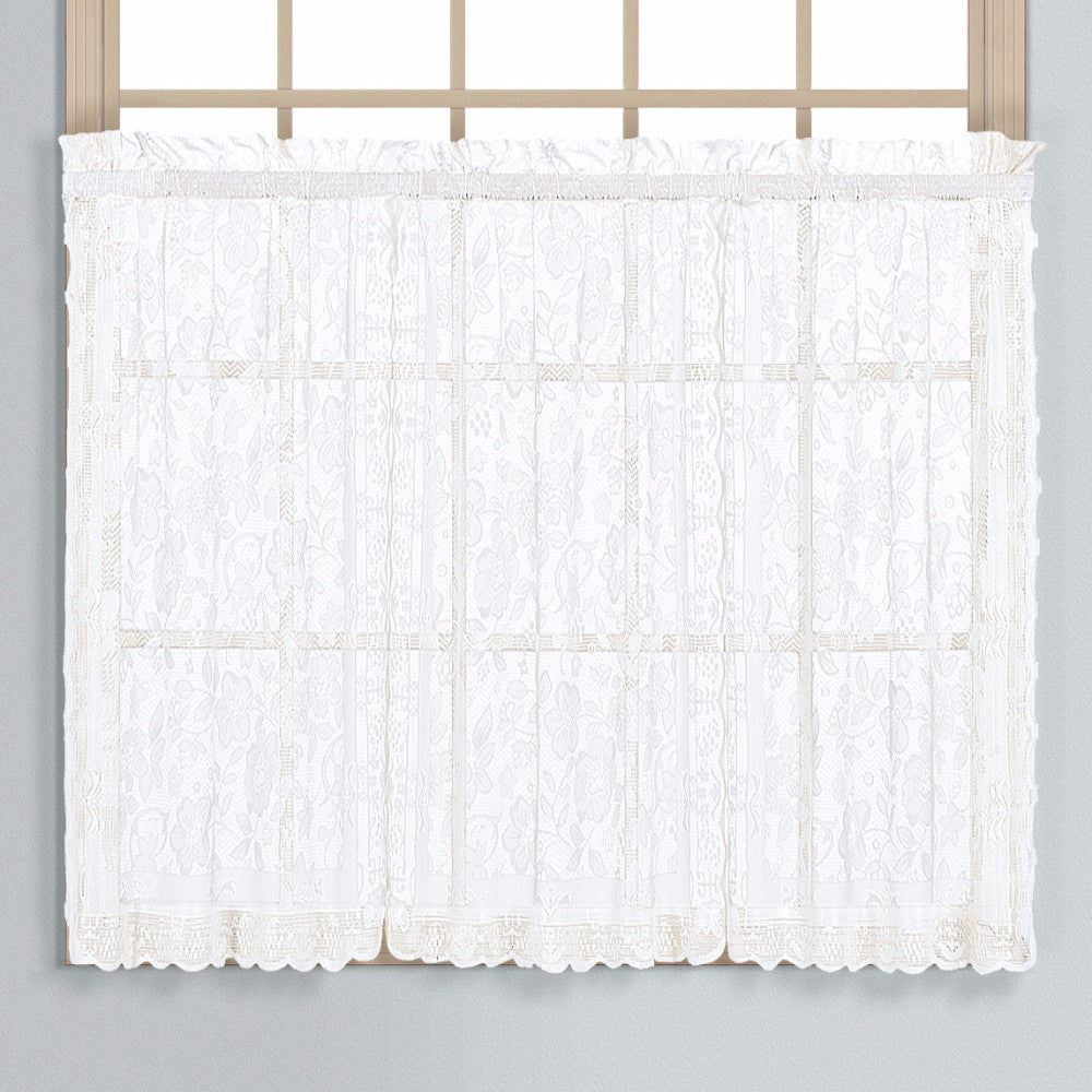 ... White Windsor Lace Kitchen Tier Curtains Hanging On Curtain Rods ...