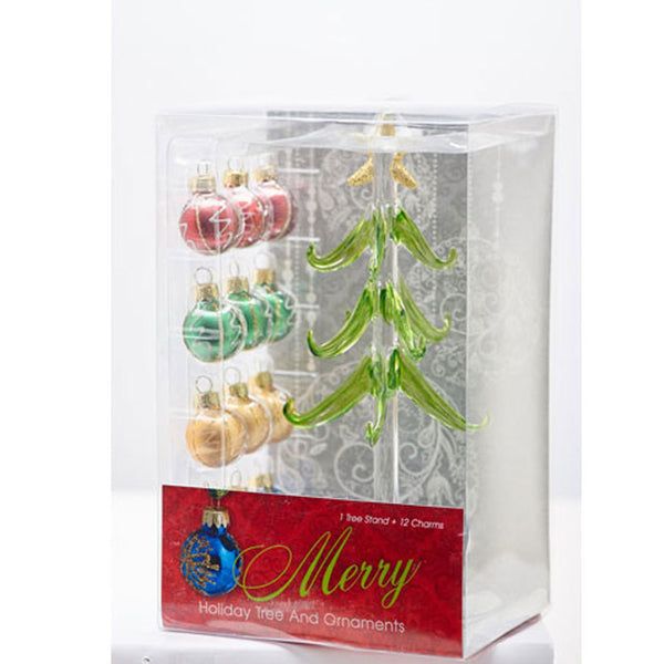 "Glass Christmas Tree 8"" inside of box"