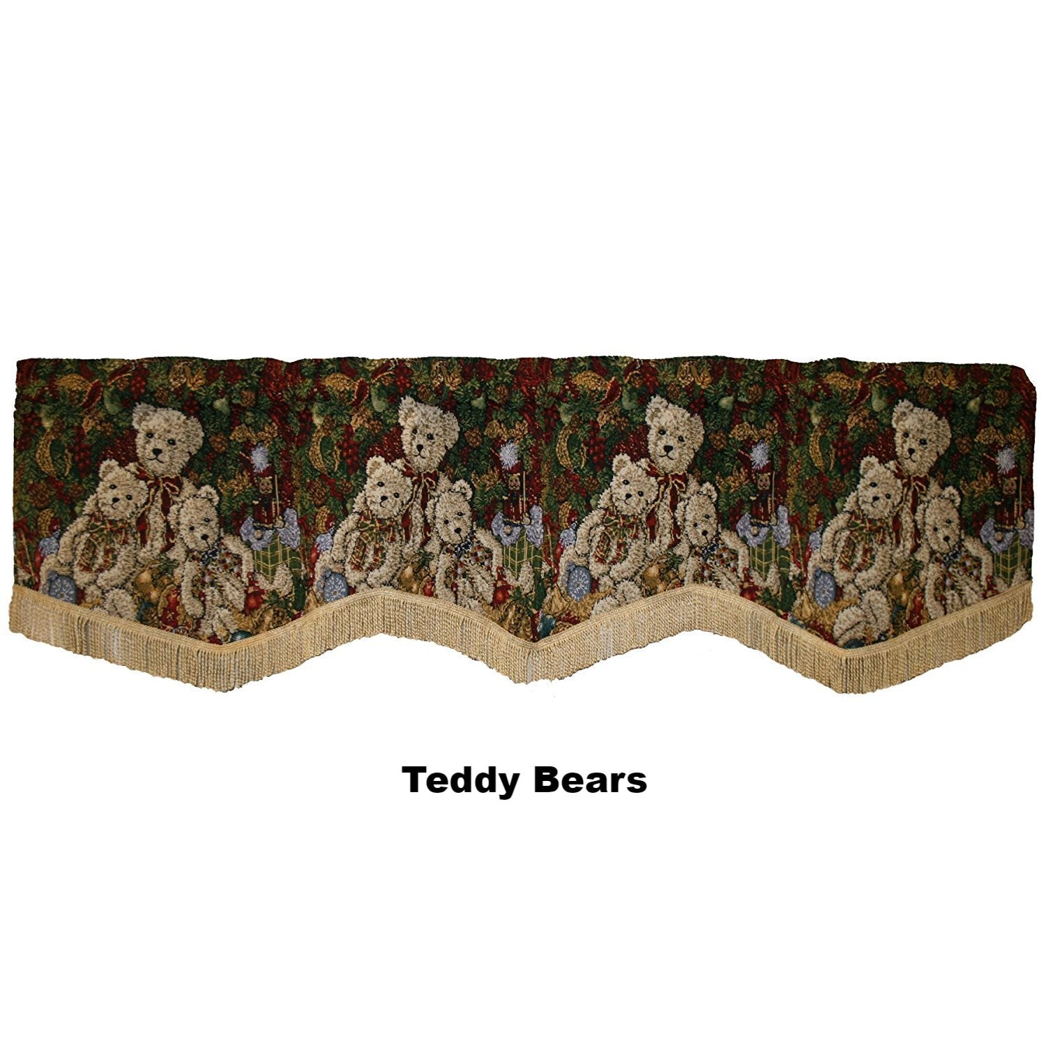 Violet Linen Decorative Christmas Tapestry Window Valance Teddy Bears