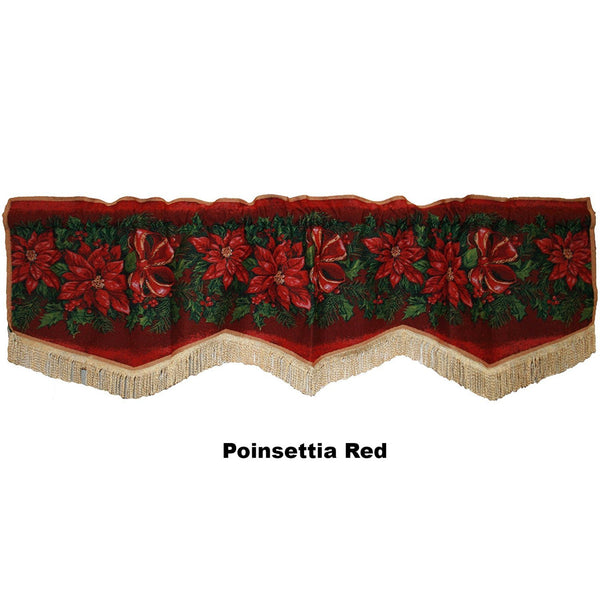 Violet Linen Decorative Christmas Tapestry Window Valance Poinsettias Red