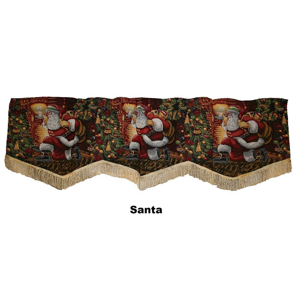 Violet Linen Decorative Christmas Tapestry Window Valance Santa